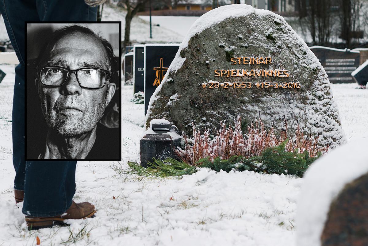 Gravsteinen og et portrett av Steinar Spjelkaviknes
